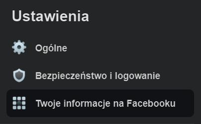 Twoje informacje na Facebooku
